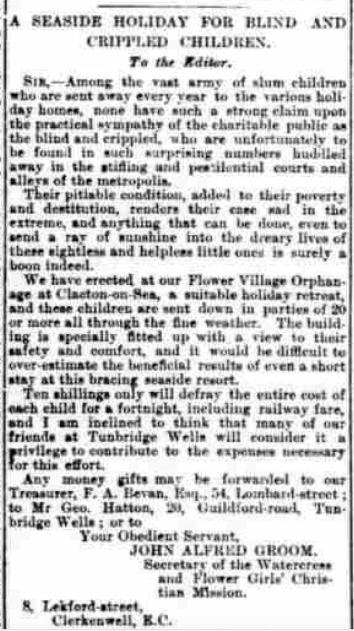 John Groom - 1899 Sussex Courier May Donation Letter.png