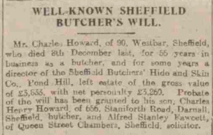 Charles Howard Newspaper death Notice 1922.png