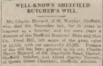 Charles Howard Newspaper death Notice 1922.png