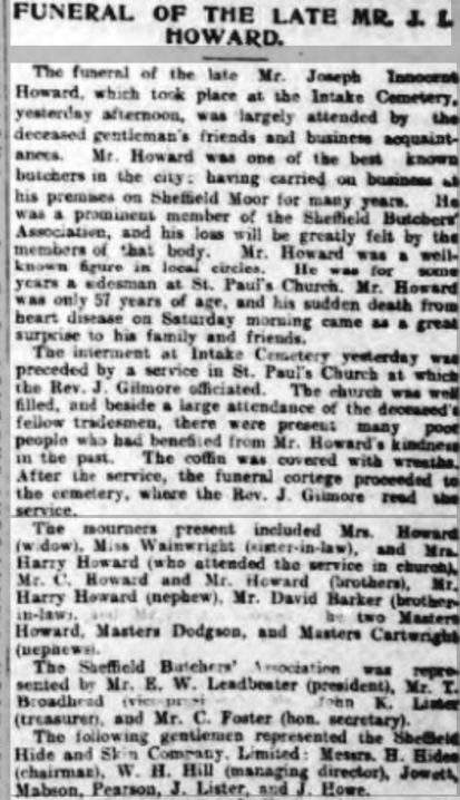 Joseph Innocent Howard Funeral 1901
