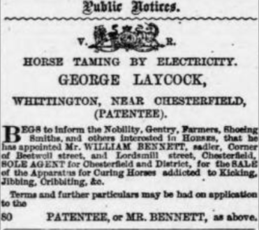 Laycock advert 1877 Derbyshire Times