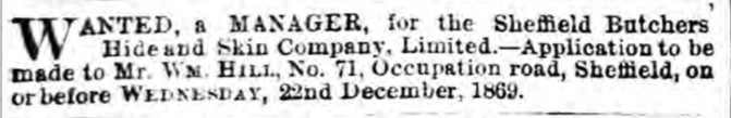 Hide and Skin Company Manager Advert